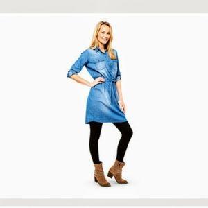 Serra Light Denim Long Sleeve Shirt Dress